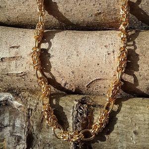 Jewelry - Goldtone Byzantine Link Necklace/Bracelet 3/$30